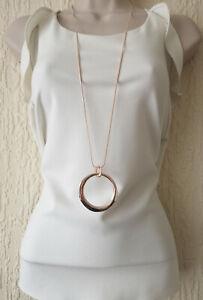 "Beautiful 32"" long ROSE GOLD tone & big circle pendant chain necklace    #34"