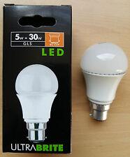5w = 30w BC Push In B22 LED GLS Bulb Lamp Bayonet Cap 15,000hrs   x 10 Bulbs