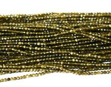 """12.5"""" - 1 LINE FINE MICRO FACETED CUT NATURAL CAT'S EYE BEADS ROUND 2 MM #435-A"""