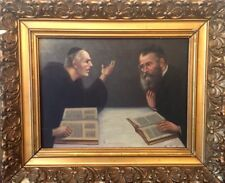 Antiguo Dorado Enmarcado Pintura al óleo sobre lienzo judío dos rabinos Firmado D Kaufmann