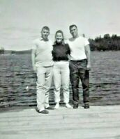 Vintage Black & White Snapshot Men Woman Pier Lake Smile B&W Photograph