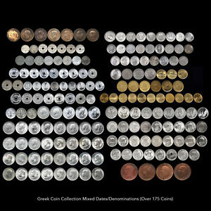 GREEK COIN COLLECTION (OVER 175 COINS) MIXED DATE / DENOMINATIONS RARE ISSUES