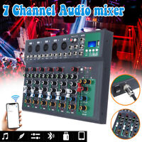LED Display 7 Channels Live Studio Audio Mixer Sound Mixing Phantom Console *##