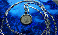 """1944-1945 PHILIPPINES US MARINE EAGLE SILVER COIN on 22"""" 925 SILVER CHAIN"""