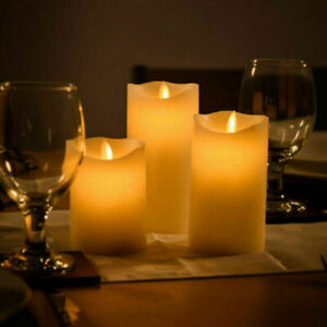 1/3X Flameless Wax LED Flickering Candles Dancing Battery Operated Mood Light
