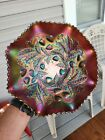 Wow Large Amethyst Northwood Carnival Glass Wild Strawberry Bowl