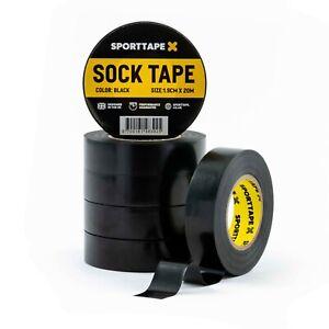 6 ROLLS - SPORTTAPE Sock Tape - 1.9cm x 20m - PVC Football Shin Pad Tape