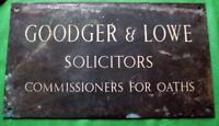 "c1900 Brass Goodger Lowe Lawyer Solicitor Antique Sign Plaque  18"" X 10""  3.5KG"
