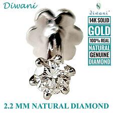 Labret Monroe Screw Stud Piercing Ring 14k Diwani 2.2mm Real i Diamond Nose Lip