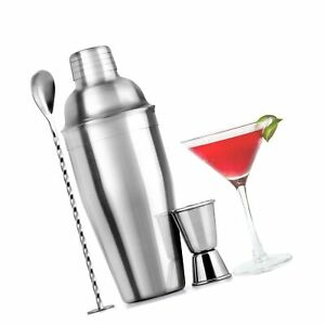 Large Stainless Steel Cocktail Shaker Set - 24 Ounce Mixed Drink Shaker - Mar...