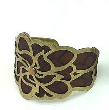 Flower Arm cuff Bracelet Avon Boho Fashion Gold & Brown Jewellery Gift Present