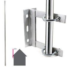 GALVANISED TV Aerial Wall Mounting Kit–Straight 6 Foot Pole/Mast Outdoor Bracket