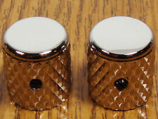 NEW Heavy Knurl Barrel GUITAR KNOBS Nickel Plated Brass Control Tele Bass