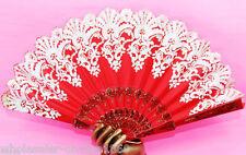 Spanish Style Red Flora/Oriental Dance Party Wedding Silk Folding Hand Fan Lace