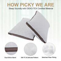 Set of 2 100% Goose Down and Feather Pillow Q/K Size Premium Bed Pillows Sleep