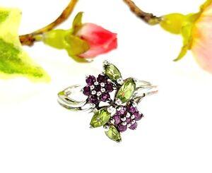 Sterling Silver Peridot & Rhodolite Garnet Flowers Ring - Size T