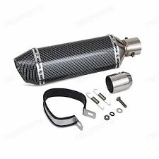 Universal 38-51mm Black Carbon Fiber Exhaust Muffler Pipe Street Bike Motorcycle