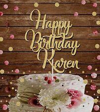 HAPPY BIRTHDAY CUSTOM NAME GLITTER CAKE TOPPER  BIRTHDAY PARTY DECORATION