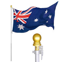 2m Aluminum Telescopic Flag Pole Australian Aussie Flagpole Kit + Gold Ball Flag
