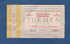 Orig.Ticket   Olympische Spiele BERLIN 1936 - TURNEN FINALE  11.08.1936  !!  TOP
