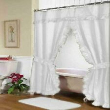 "Carnation Home ""Lauren"" Double Swag Shower Curtain White"