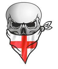 Biker Skull With Face BANDANA & St Georges Cross England Flag car sticker decal