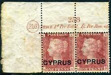 CYPRUS-1880 1d Red Plate 216. A fine MM pair with Plate No & Inscription Sg 2