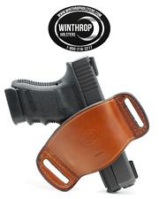 Glock 42 No Laser Ambidextrous OWB Belt Slide Leather Holster Brown