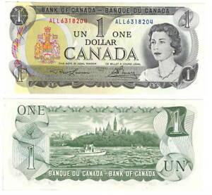 Canada $1 Dollars 1973 P-85b BC-46a-i UNC Lawson-Bouey ALL Prefix Banknote
