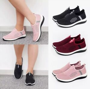 ❤️ Womens Slip On Trainers Shoes Ladies Casual Gym Sports Running Pumps Sneakers