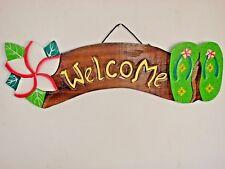 WELCOME SANDLE HAND CARVED WOOD SIGN WALL ART ISLAND TROPICAL PATIO TIKI DECOR
