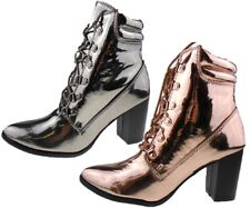 Ladies High Street Metallic Gold Silver Almond Toe Ankle Boots Sizes UK 4 - 8