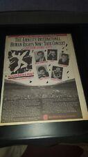 Amnesty International Radio Concert Rare Original Promo Poster Ad Framed!