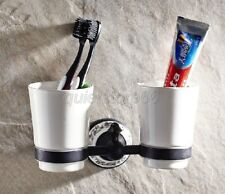 Black Oil Rubbed Bronze Double Tumbler Holder Toothbrush Cup Holder qba291