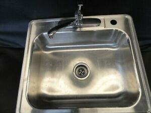 """NEPTUNE STAINLESS STEEL SINK 25"""" X 22"""" WITH GLACIER BAY FAUCET"""