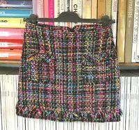 ZARA Boucle Tweed Mini Skirt Fringe Multicolour Mod 60s Preppy XS UK 6 8 US 2 4