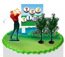 Golfer Tee Time Cake Decoration Topper -Golfer Trees Sign New