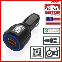 Qualcomm QC 3.0 Fast Quick Car Phone Charge Dual 2-USB Port Adapter LED 3.0A GPS