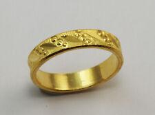24K Solid Yellow Gold Diamond Cut Ring Band 4.6 Grams 9999