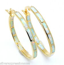 "18K Gold Plated 925 Sterling Hoop Earrings with White Fire Opal Inlay 1"" wide"