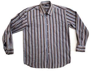Platinum Club Mens Long Sleeve Button Up Shirt Size Medium striped Top