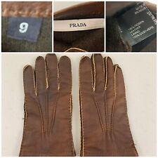 Prada Mens Leather Gloves Size 9 Brown 100% Pigskin Leather100% Cashmere Inside
