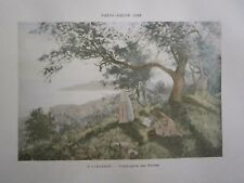 Gravure 19° P. Girardet : Cueillette des olives