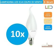 10 Lampadine led E14 8W FIAMMA COLPO DI VENTO  LUCE CALDA NATURALE E FREDDA