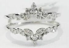 Solitaire Enhancer Diamonds Ring Guard Wrap 10k White Gold Finish Wedding Band