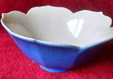 Vintage Lotus flower shaped bowl, blue outside white inside; good condition;