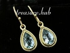 E089 Exquisite Genuine 9ct 9K Yellow Solid Gold NATURAL Topaz Tear-Drop Earrings