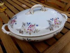 "Antique Ironstone Covered Oval Tureen Porcelain Aesthetic Gilt 13"" Diameter"