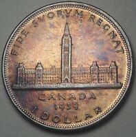 1939 CANADA 1 ONE DOLLAR SILVER COLOR BU GEM TONED STUNNING UNC (DR)