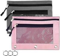 Multicolor Tatuo 18 Pack 3 Ring Pencil Pouch with Double Mesh Window Zipper Pencil Pouch Bags Pencil Case